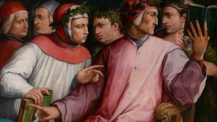 Giorgio Vasari: Hat koszorús költő (Cavalcanti, Dante, Boccaccio, Petrarca elől, Cino da Pistoia és Guittone d'Arezzo hátul), olaj, vászon, 1544, Minneapolis Institute of Arts, Minnesota - forrás: Wikimedia Commons (Public Domain)