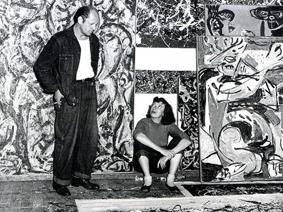 Jackson Pollock és Lee Krasner 1949-ben az East Hampton-i pajtában – forrás: Pollock–Krasner Foundation