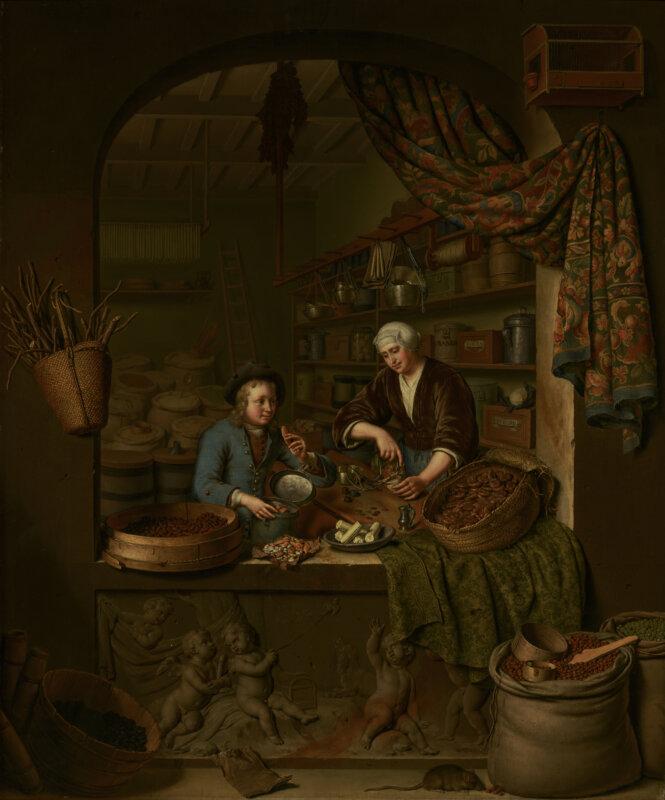 Willem van Mieris fűszerüzletről készült 1717-es képé