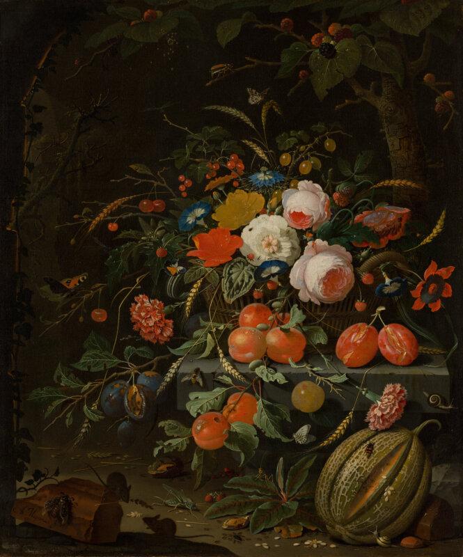 Abraham Mignon 1670-es Csendélet virágokkal és gyümölcsökkel