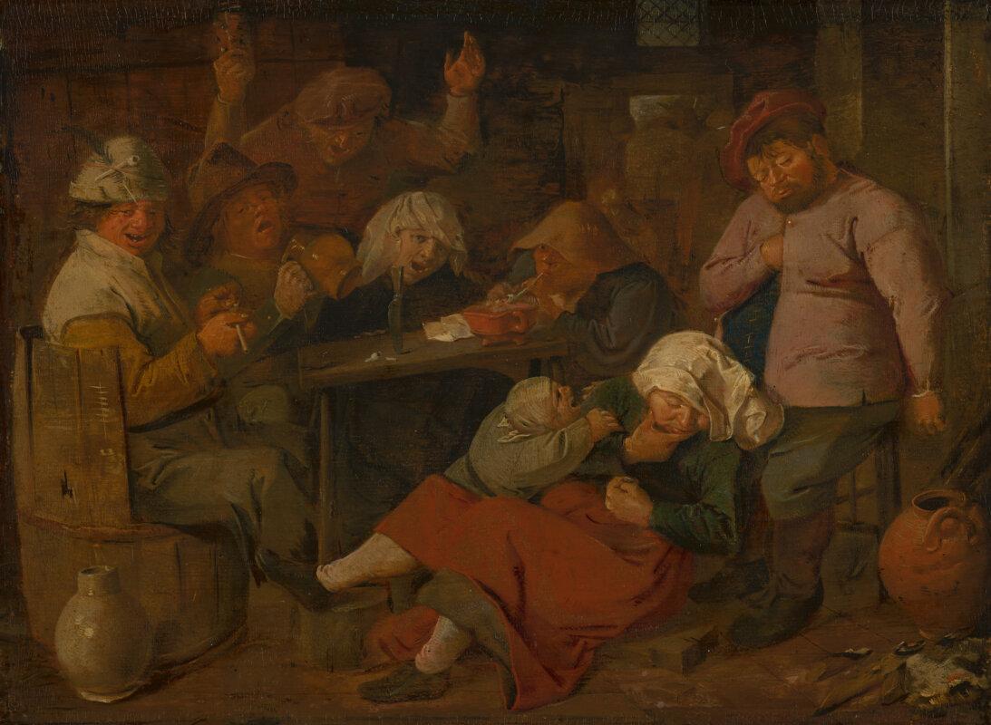Adriaen Brouwer 1630-as képén az elégedetten pipázó alakok tekintete zavaros, mintha részeg lenne.