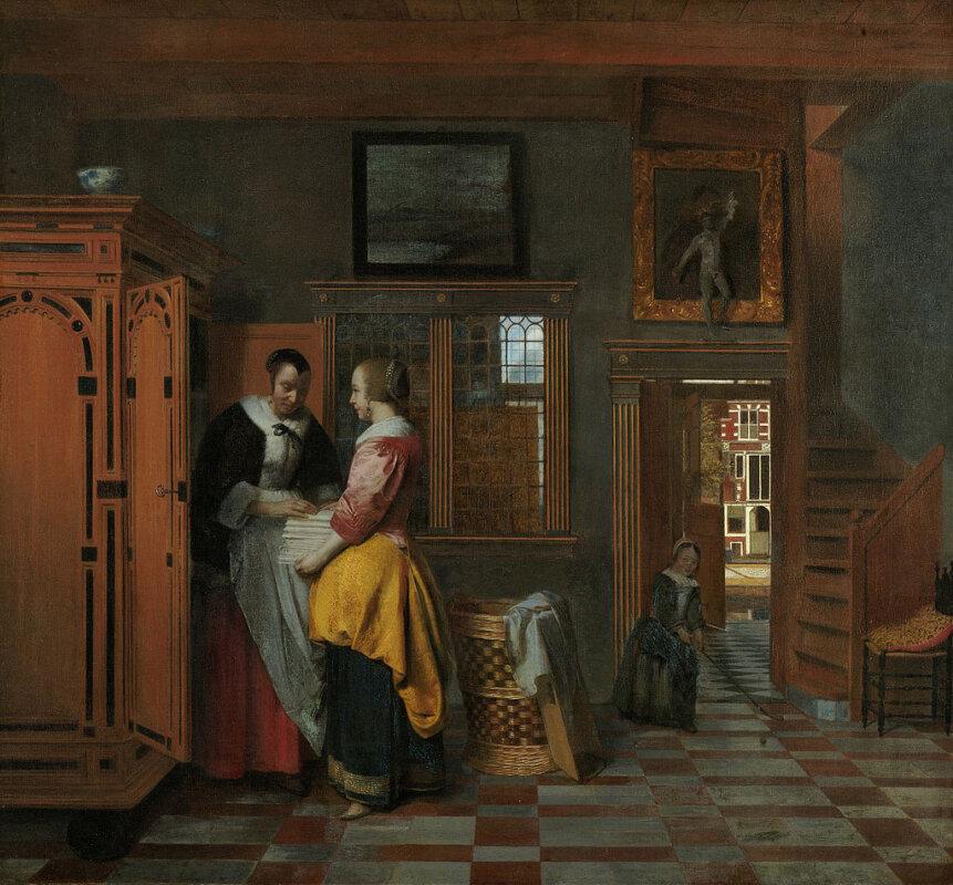 Pieter de Hooch: Szobabelső vászonneműsszekrény előtt álló asszonyokkal, 1663 - Rijks Múzeum
