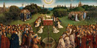 """Hubert és Jan van Eyck: A kép centrumában Isten báránya, a keresztény jelképrendszer fő szimbóluma, az egész emberiségért meghozott krisztusi áldozat megtestesítője. Az oltárasztal brokátterítőjén latin nyelvű felirat olvasható: """"Íme, Isten báránya, aki elveszi a világ bűneit."""""""