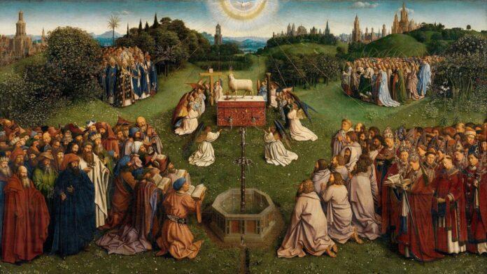 Hubert és Jan van Eyck: A kép centrumában Isten báránya, a keresztény jelképrendszer fő szimbóluma, az egész emberiségért meghozott krisztusi áldozat megtestesítője. Az oltárasztal brokátterítőjén latin nyelvű felirat olvasható: