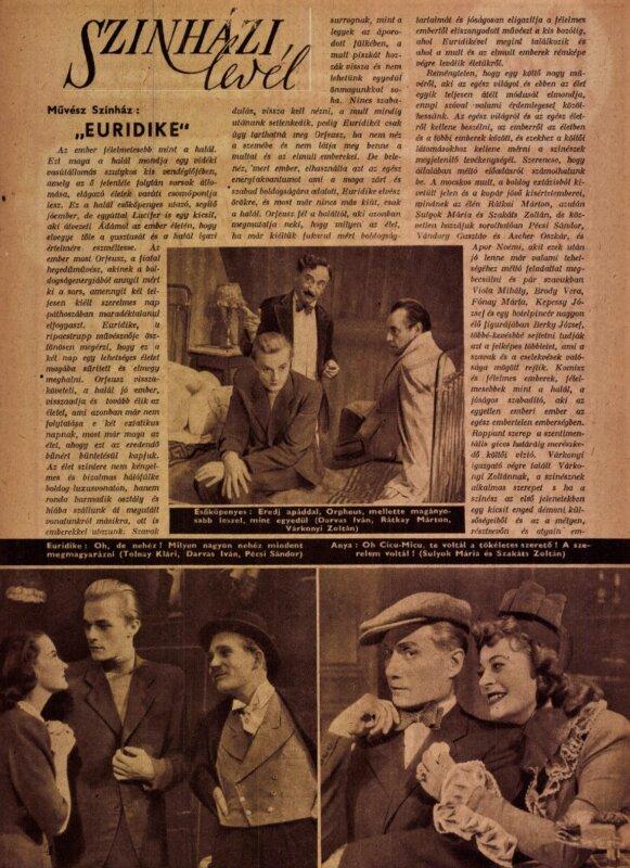 Sulyok Mária, Tolnay Klári, Darvas Iván, Pécsi Sándor, Rátkai Márton, Szakáts Zoltán. Euridike (1946), Művész Színház / Forrás: Színház, 1946/ 37. Arcanum
