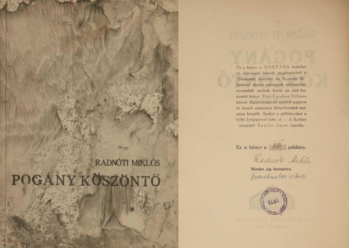 Radnóti dedikált kötete - forrás: antikvárium.hu