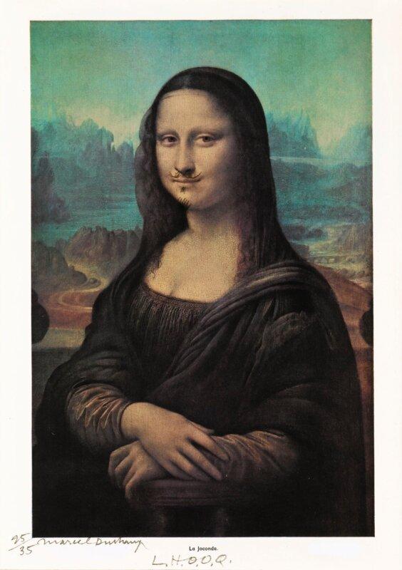 Marcel Duchamp: L.H.O.O.Q. (a Sotheby'snél 2017-ben árverezett 1964-es példány) – forrás: Sotheby's