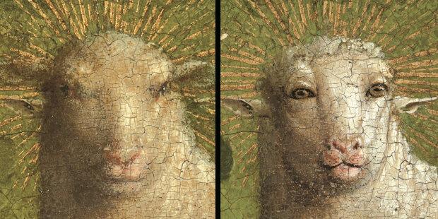 Hubert és Jan van Eyck: A restaurálás során kiderült, hogy a művészek eredetileg a 16. században a bárányt humanoidabb arccal festették, mint ami évszázadok óta látható volt