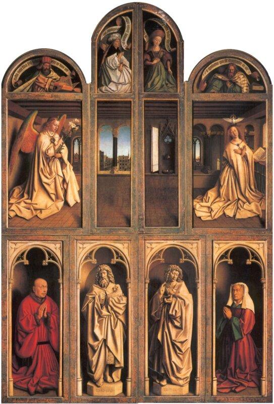 Hubert és Jan van Eyck: A Megváltás kezdetét az Angyali üdvözlet jelenti az oltár csukott szárnyain. A táblákat kinyitva az oltár nyitott és zárt állapota közötti átmenetet Ádám és Éva, az ősszülők jelentik, akik bűneikkel a megváltás szükségességét fejezik ki.
