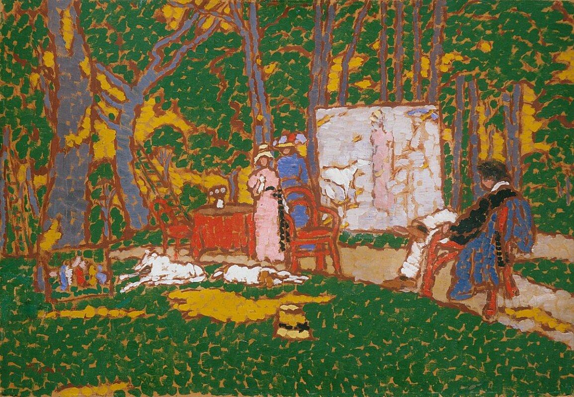 Rippl-Rónai József: Parkban festem Lazarinet és Anellát, Hepiéknek melegük van, 1912