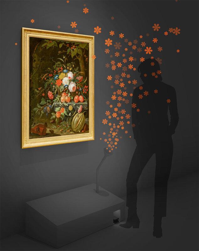 A képeknél elhelyezett szerkezetek a festményhez illő illatot árasztják - forrás: Mauritshuis sajtóanyag