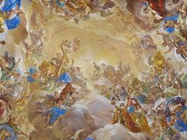 Luca Giordano: a Habsburgok diadala és megdicsőülése. 1692. El Escorial. Monasterio de San Lorenzo főlépcsőháza. - Fotó: José Luis Filpo Cabana, Forrás: Wikipédia