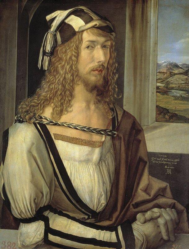 Albrecht Dürer: Önarckép, 1498. Madrid, Museo Nacional de Prado – Forrás:Wikipédia