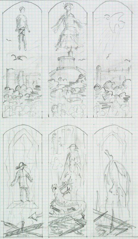 Fülöp, Edinburgh hercege: Vázlat a windsori kastély kápolnájának üvegeblak-terveihez – forrás: Royal Collection Trust