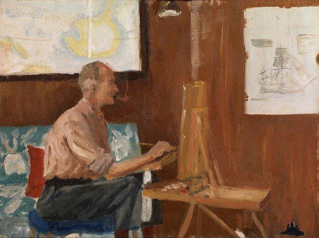Fülöp, Edinburgh hercege: Edward Seago festés közben a Britannia fedélzetén – forrás: Royal Collection Trust