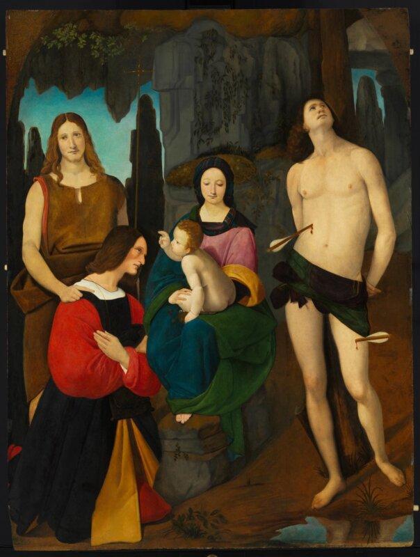Giovanni Antonio Boltraffio - Mária gyermekével, Keresztelő Szent Jánossal, Szent Sebestyénnel és Bassiano da Ponte donátorral, 1508 körül - forrás: Szépművészeti Múzeum