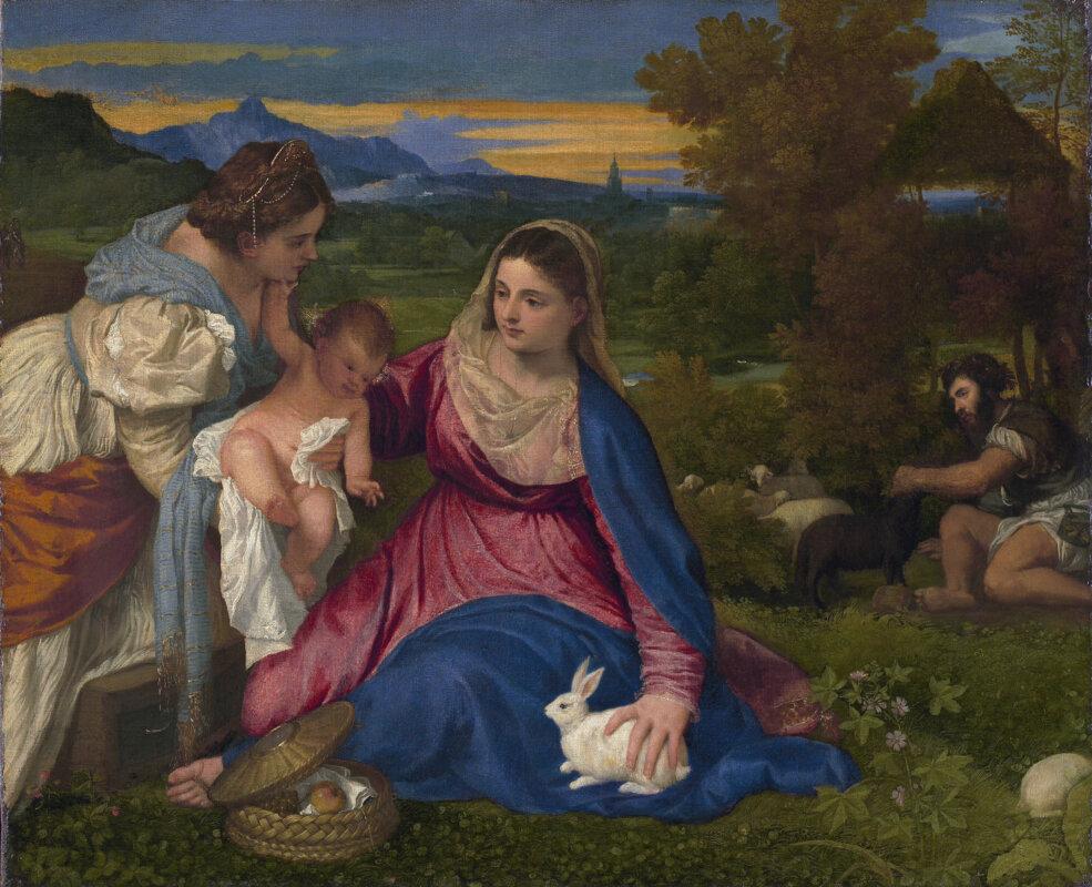 Tiziano: Nyulas Madonna 1530 - forrás: wikiart