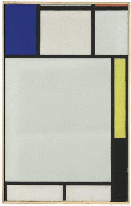 Piet Mondrian: Kompozíció kékkel, pirossal, sárgával és feketével – forrás: Christie's