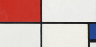 Piet Mondrian: Kompozíció III. (részlet) - (Kompozíció pirossal, kékkel, sárgával és feketével) – forrás: Christie's