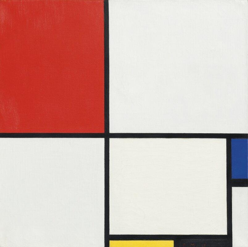 Piet Mondrian: Kompozíció III. (Kompozíció pirossal, kékkel, sárgával és feketével) – forrás: Christie's