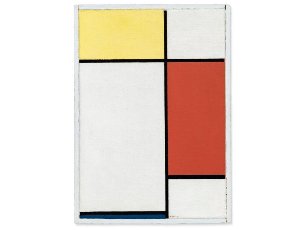 Piet Mondrian: Kompozíció II., sárgával, vörössel és kékkel – forrás: Christie's