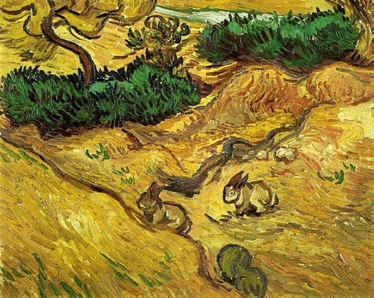 Vincent van Gogh: MEző két nyúllal - 1889 - forrás: wikiart