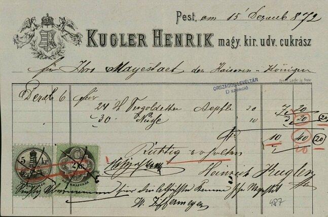 Kugler Henrik számlája