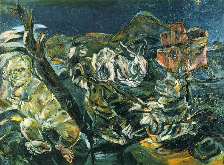 Oskar Kokoschka: Csendélet puttóval és nyúllal 1913, - forrás: wikiart