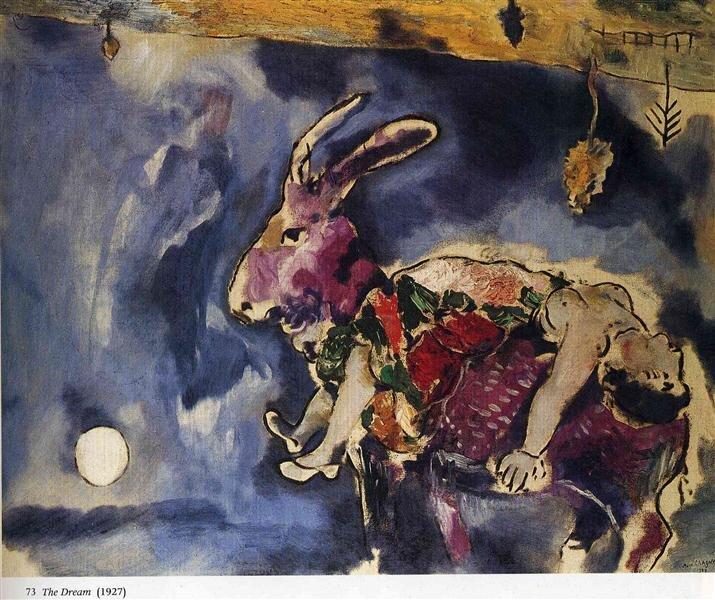 Marc Chagall: Az álom - A nyúl - 1927 - forrás: wikiart