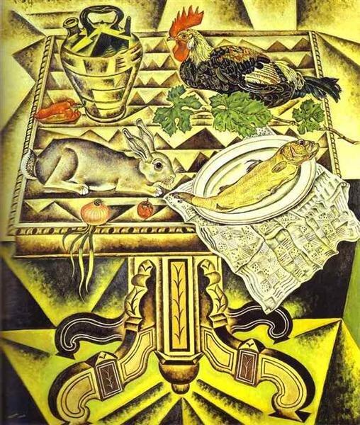 Joan Miro: Az asztal (Csendélet nyúllal) 1920 - forrás: wikiart