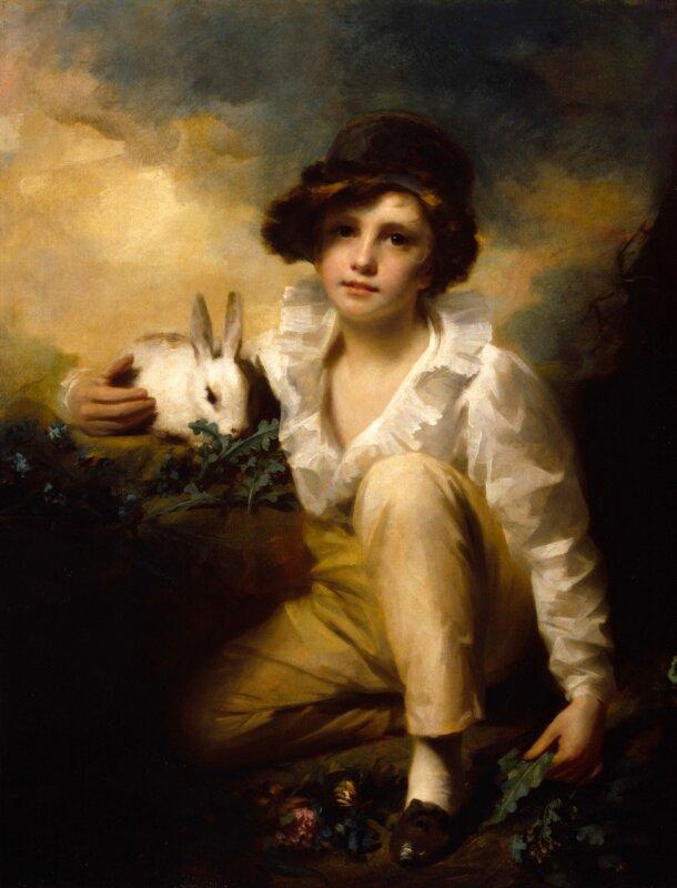 Henry Raeburn: Fiú és nyúl - 1814 - forrás: wikiart