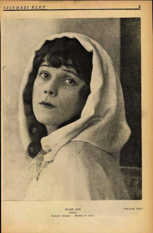 Bajor Gizi Júlia szerepében, (1918) Forrás: Színházi Élet, 1918/ 2. 5. (ADT)