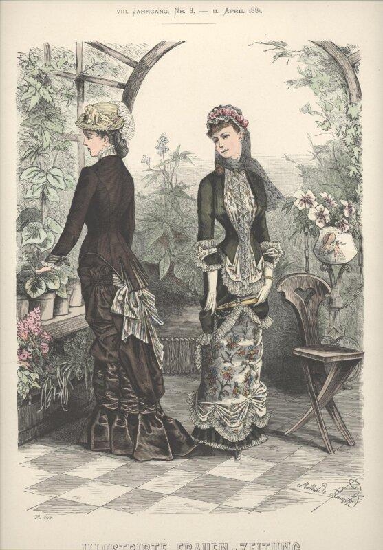 Divatkép, llustrierte Frauenzeitung (1881.04.11.) MMN Textilgyűjtemény, ltsz. T.1963.60.10.