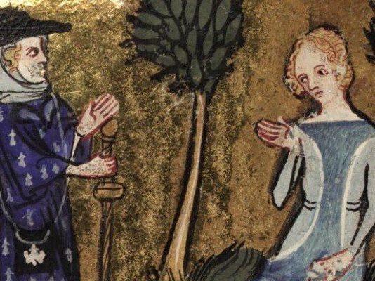 Kép forrása: Roman de la Rose, vers 1348 (150v) Bib. Ste. Genevieve. Paris. France (1350 – 1360) Institution: Bibliothèque Sainte-Geneviève.