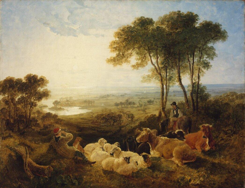 Angol festő: Táj pásztorokkal és tehenekkel, 1800 - forrás: Szépművészeti Múzeum