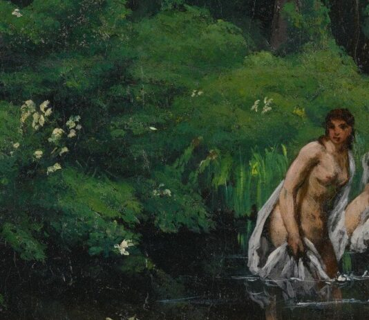 Gustave Courbet: Fürdőzők az erdőben (részlet) – forrás: Sotheby's