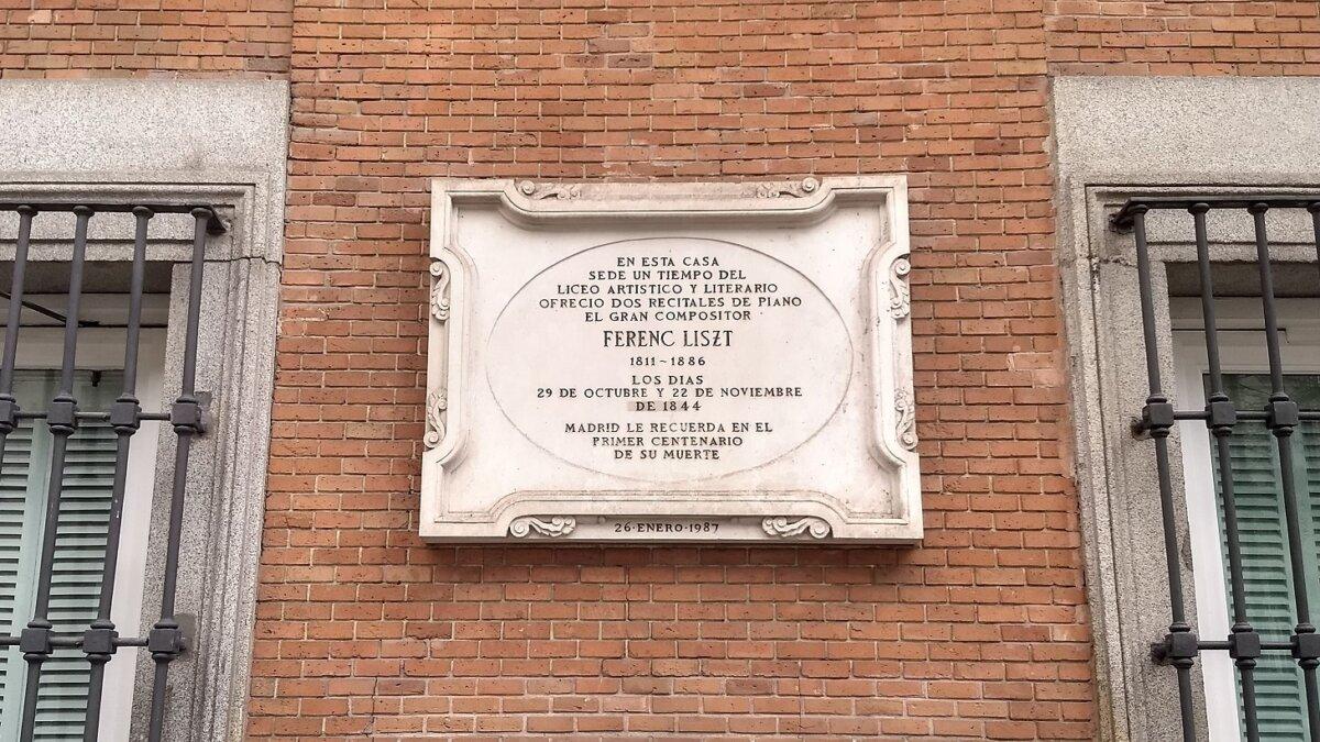 Liszt Ferenc Emléktáblája Madridban