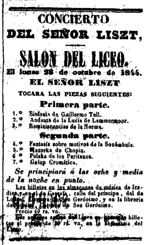 Liszt Ferenc első koncertjének előzetes programja. El Eco del Comercio. 1844. október 27. - Forrás: Hemeroteca Digital, Biblioteca Nacional de España