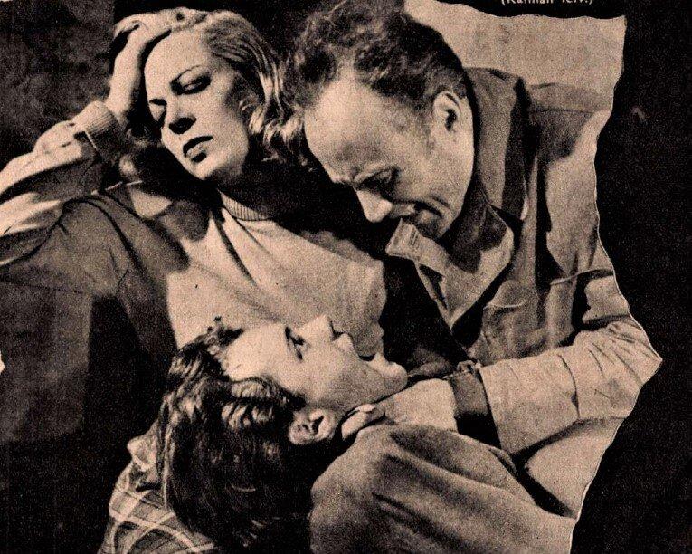 Sennyei Vera, Dékány László, Zách János a Temetetlen holtak című előadáson, Művész Színház, 1947. / Forrás: Színház, 1947. 20. Arcanum