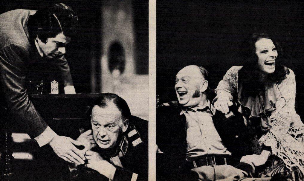Sztankay István, Básti Lajos, Ronyecz Mária a Play Strindberg című előadáson, Katona József Színház, 1973. / Forrás: Film Színház Muzsika, 1973/ 43. 6. (ADT)
