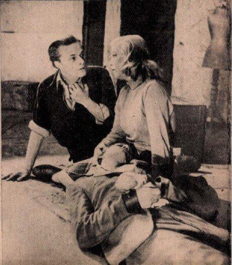 Darvas Iván, Sennyei Vera, Dékány László a Temetetlen holtak című előadáson, Művész Színház, 1947. / Forrás: Színház, 1947. 20. Arcanum