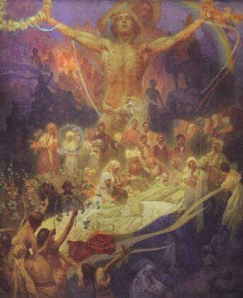 Alphonse Mucha: A szlávok apoteózisa - A szlávok emberiessége - forrás: wikipedia
