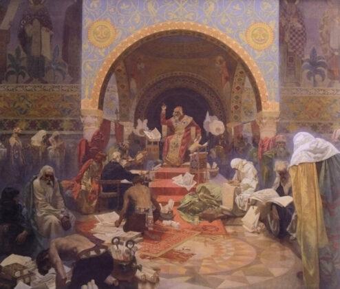 Alphonse Mucha: II. Ottokár cseh király - A szláv dinasztiák szövetsége - forrás: wikipedia