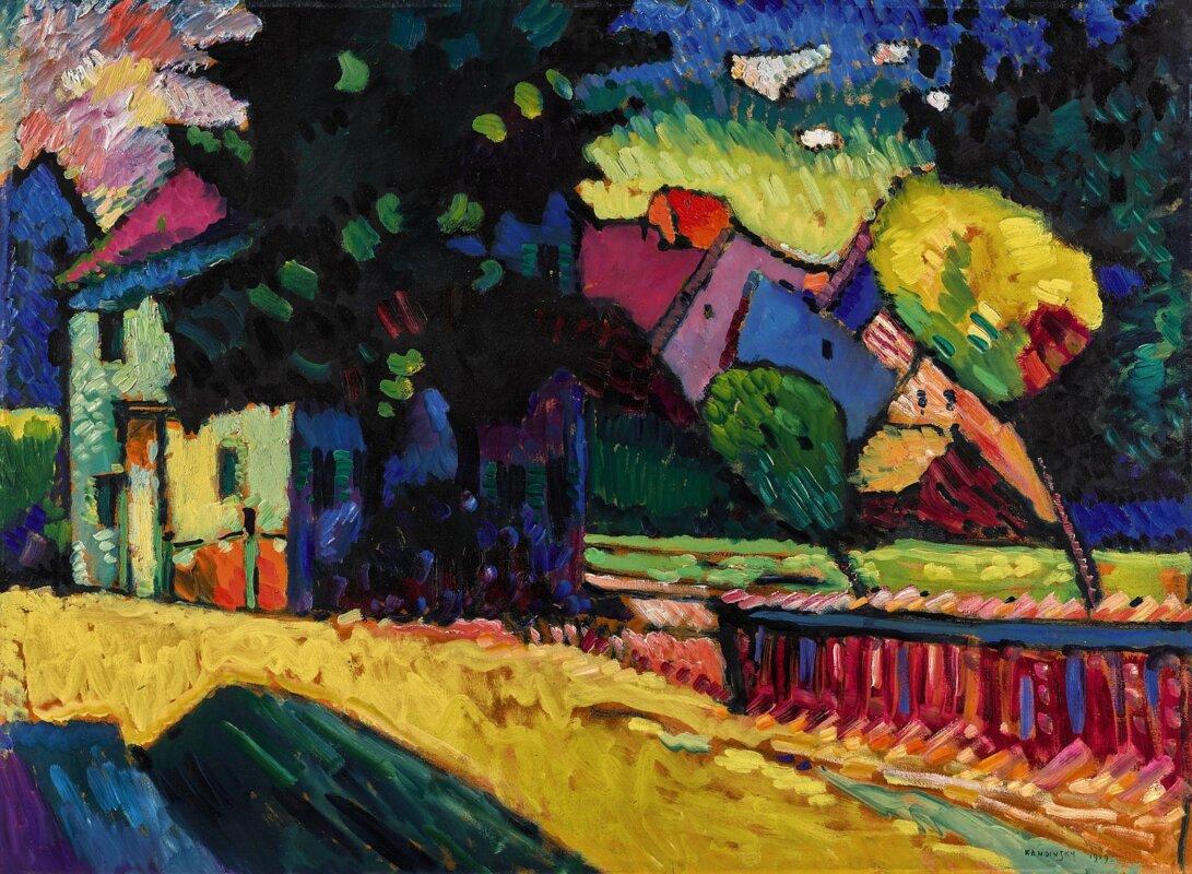 Vaszilij Kandinszkij: Murnau – Táj zöld házzal – forrás: Sotheby's