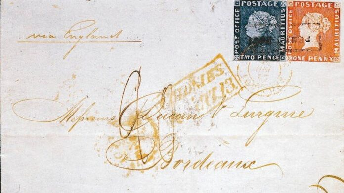 """Az úgynevezett """"Bordeaux-i levél"""" a kétféle Mauritius-bélyeggel – forrás: Wikimedia"""