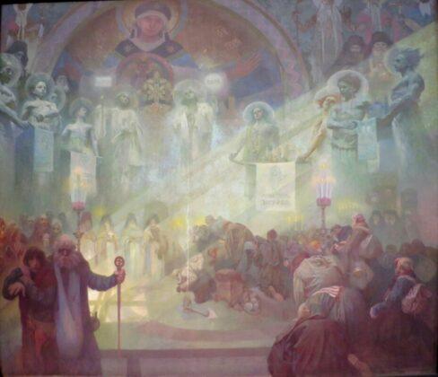 Alphonse Mucha: Athosz szent hegye - Az ortodox irodalom legrégebbi kincseinek menedéke - forrás: wikipedia