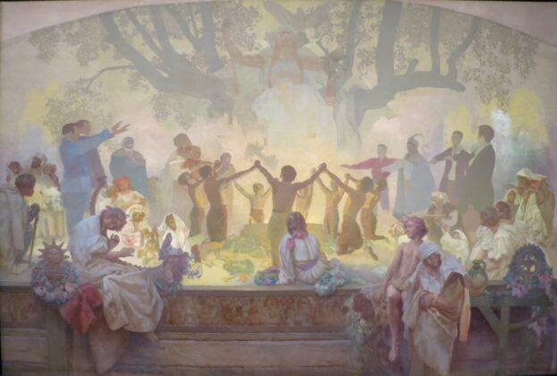 Alphonse Mucha: Az Omladina társaság esküje a szláv hársak alatt - A szláv újjászületés - forrás: wikipedia