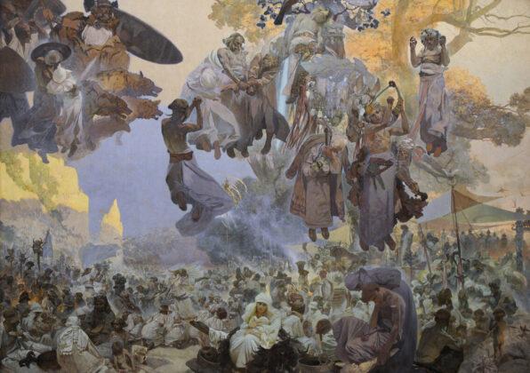 Alphonse Mucha: Szvetovid imádása - Amikor az istenek háborúztak Szvetovid alkotott - forrás: wikipedia