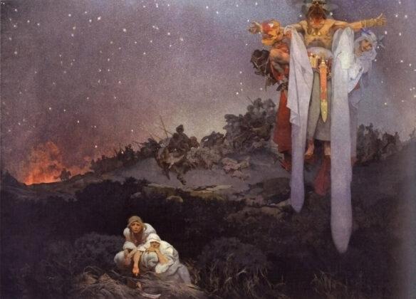 Alphons Mucha: Szlávok az őshazában - A turániai vereség és gótok kardja között - forrás: wikipedia
