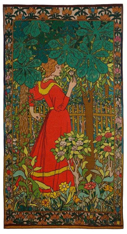 Vörös ruhás nő című falikárpit - forrás: IMM